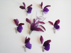 Purple Bridal Feather Hair Clips - Feather Hair Clips - Feather Hair Clip Set. $135.95, via Etsy.