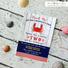 Crab Birthday Invitation (PRINTED FILE) by DesignbyKristinLynn on Etsy