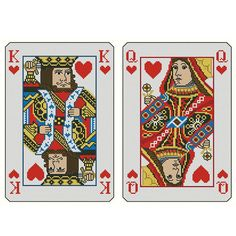 Mini Cross Stitch Pattern: King and Queen of Hearts Design Source: Pinoy Stitch DMC Floss Colors: 15 Stitch Count: 198 x 144 Approximate Finished Size on Recommended Fabric:* 14 count = 14 w x 10 h  16 count = 12 w x 9 h  18 count = 11 w x 8 h  22 count = 9 w x 7 h *Pattern is in color. Sizes do not include margins. Ideally you should add 3 on all sides. Uses full stitches, back and straight stitches for accents. Not what you are looking for? Find more charts at www.MiniCrossStitch.com…