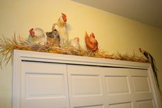 Faux Painting, Mural Painting, Mural Art, Tole Painting, Wall Murals, Painted Chairs, Painted Doors, Painted Furniture, Chicken Painting