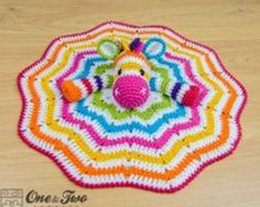 Rainbow Crochet Zebra Security Blanket
