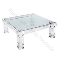 "The Adrienne Cocktail Table features 4"" thick clear acrylic legs with grooves at top and bottom. Included is a 1/2"" thick glass top.   42""L x 42""D x 16""H - Can also be custom made as a dining table   CUSTOM DIMENSIONS AVAILABLE. Please call 800-24-PLEXI."