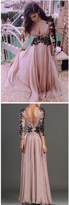 Charming Prom Dress,V Neck Prom Dress,Chiffon Prom Dress,Backless #prom #promdress #dress #eveningdress #evening #fashion #love #shopping #art #dress #women #mermaid #SEXY #SexyGirl #PromDresses