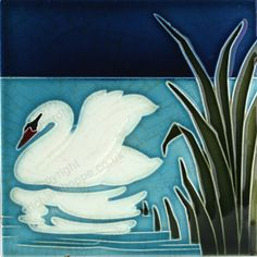 ANTIQUE c.1905 BOIZENBURG GERMAN ART NOUVEAU SWAN TILE. This item is sold, to visit my website to see what's in stock click here: http://www.richardhoppe.co.uk or for help or information email us here: info@richardhoppe.co.uk