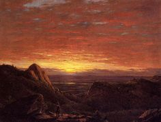 Frederic Edwin Church (1826-1900), Morning, Looking East over the Hudson Valley from the Catskill Mountains - 1848.