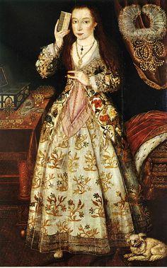 Elizabeth Vernon, Countess of Southampton, wife of Henry Wriothesley, lady-in-waiting to Elizabeth I by lisby1, via Flickr Elizabethan Clothing, Elizabethan Era, Elizabethan Costume, Elizabethan Fashion, Renaissance Mode, Renaissance Fashion, Tudor Fashion, Renaissance Artworks, Renaissance Clothing