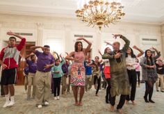 First Lady Michelle Obama joins students for a Bollywood Dance Clinic in the State...