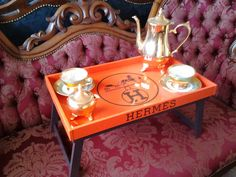 HERMES folding TRAY. Large wooden serving tray with par ccSideShop, $139.00