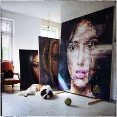 Brazilian-born, Berlin-based artist Harding Meyer paints large-scale expressive portraits of women and men that blur the boundaries between realism and surrealism. He artistically presents an intimate look at the human face on a larger-than-life canvas, allowing viewers to delve deep into each visage. Each portrait is presented with sharp brushstrokes in every direction, making Meyer's subjects appear like realistic digital renderings.