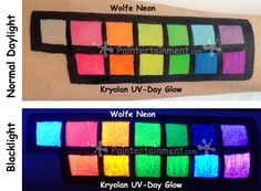 Everything you wanted to know and SEE about Neon / UV / Fluorescent paints, with sample swatches of brands in regular daylight and under black light! Face Painting Tips, Face Painting Tutorials, Face Paintings, Uv Makeup, Fluorescent Paint, Blacklight Party, Day Glow, Paint Swatches, Neon Glow