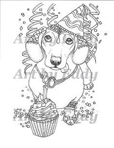 art of dachshund single coloring page happy birthday doxie