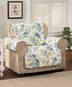 Love This Blue English Floral Chair Protector On #zulily! #zulilyfinds
