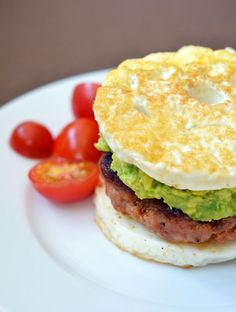 "Paleo Sausage Egg ""McMuffin"" By Michelle Tam http://nomnompaleo.com. Ingredients: ghee, pork breakfast sausage, eggs, salt, pepper, water, guacamole [optional]. #paleobreakfast #paleomaindish"
