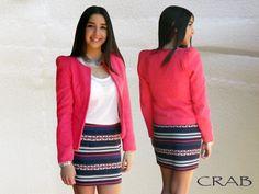 Saia Estampada Riscas e Casaco Piquet rosa coral...