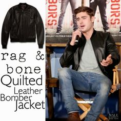 Male Fashion Trends: Zac Efron y su Quilted Leather Bomber Jacket de Rag&Bone
