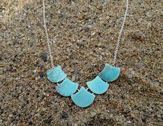 Collar plata esmaltado/Collar plata sirena/Collar sirena/Collar marino/Collar esmaltado sirena/Collar escama/Collar playa/Esmalte turquesa de SplashJewel en Etsy