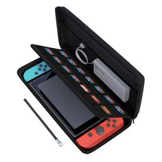 Nintendo Switch Case, amCase Hard Carrying Case for Nintendo Switch with 14 Game Cartridge Holders with Zipper Protective Travel Case (Black) Nintendo 3ds, Nintendo Console, Nintendo Switch Accessories, Gaming Accessories, Arcade Game Machines, Arcade Games, Nintendo Switch Case, Nintendo Switch System, Game Room Kids