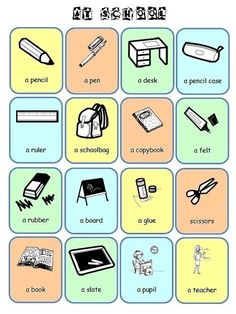 English Words, School Bags, Classroom, Teacher, Books, Preschool Seasons, Lettering Styles, Flashcard, English Vocabulary