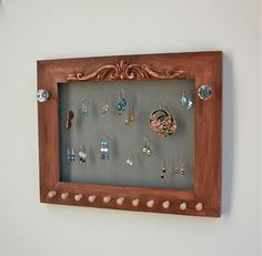 Earring Jewelry Holder Wall Mount Wood Frame for by onthewallusa, $39.50