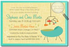 Retro Mid-Century Modern Baby Shower Invitation Retro Mid-Century Modern Baby Shower Invitation [DI-4517] : Custom Invitations and Announcements for all Occasions, by Delight Invite