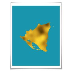 Nicaragua Map Gold Foil Art Print. Gold. Silver. Copper. 36 Colours/3 Sizes. Country Travel Poster