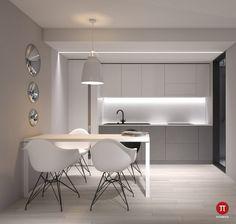 3 Minimalist Monochromatic Homes With Modern Lighting Monochrome Interior, Minimalist Interior, Modern Interior Design, Apartment Interior, Apartment Design, Home Decor Kitchen, Kitchen Interior, Interior Minimalista, Style Minimaliste
