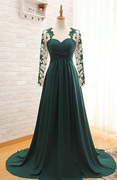 Picture of Real Products Emerald illusion Beading Lace Long Sleeve A Line Long Prom Dresses Vestido De Festa