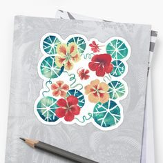 Buy 10 stickers, get 50% off. The more you stick, the more you save.  hand drawn watercolor tropaeolum flowers on dark background for all garden lovers • Also buy this artwork on stickers, apparel, phone cases, and more.  tropaeolum,flowers,dark floral,common,herbal,organic,garden,gardening,garden lover,salad,cooking,classic,vintage,aquarelle,seamless pattern,green and red,nature,plant,botanical,foliage,leaves