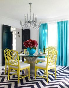 Jonathan Adler dining room, black and white chevron floor