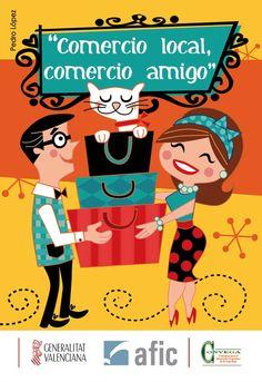 Ilustración para el nuevo calendario 2013 de Convega.  Fomentando el pequeño comercio en la Vega Baja.