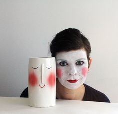 Smiling Face Vase  wheel thrown handmade ceramics one by CasaAbril, €42.00 Cute vase, creepy lady!