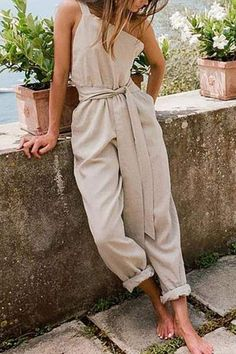 SKU: Product Name :One-Shoulder Sleeveless Belt Cotton And Linen Jumpsuit BottomsWaist Bust Hip Length inch cm inch cm inch cm inch cm S 29 74 35 88 36 92 51 130 M 31 78 36 92 38 96 52 131 L 32 82 38 96 39 100 52 132 XL 34 86 39 100 41 104 52 133 Jumpsuit Outfit, Casual Jumpsuit, Summer Jumpsuit, Cotton Jumpsuit, Vintage Overall, Look Fashion, Fashion Outfits, Vintage Jumpsuit, Virtual Fashion