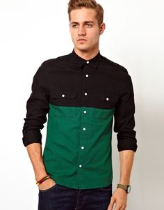 Image 1 ofASOS Shirt in Long Sleeve with Cut And Sew