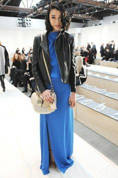 royal blue maxi dress and tough leather jacket