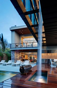 Outdoor space with an integrated water feature.. #Design