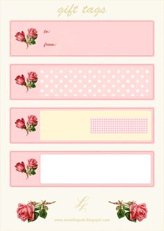 FREE printable vintage rose gift tags