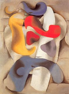 Willi Baumeister. Figure in Motion 1936 colored round forms, partially recalling human figures