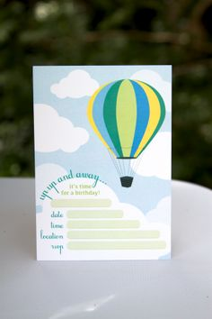 Hot Air Balloon invitations for the boys