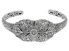 Artisan Gem Collection Of Bali(Tm) Sterling Silver Filigree Cuff Bracelet