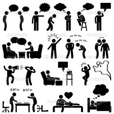 Man Talking Thinking Conversation Thought Laughing Joking Whispering Screaming Chatting Icon Symbol Sign Pictogram — Stock Illustration #11245516
