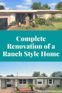 Before and After photos showing, start to finish, the renovation of a ranch style home. Ranch Style Homes, Level Homes, Home Renovation, Flipping, Orlando, My House, Exterior, Goals, Dreams