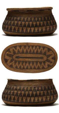 Africa~~Basket with lid from the Batutsi people of Zambia. African Design, African Art, Weaving Art, Hand Weaving, Art Africain, Textiles, Gourd Art, Basket Weaving, Woven Baskets