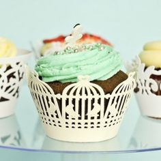 Ivory color birds cage design paper cupcake wrappers/holder - check out the whole selection and more at giftsy.com.au!