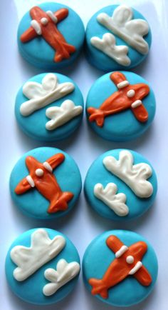 Vintage Airplane and Cloud Inspired Chocolate Covered Oreo Cookie Edible Favors Vintage Airplane Birthday Baby Shower