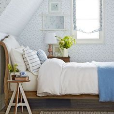 Classic blue and white bedroom | Vintage bedroom ideas | Bedroom | PHOTO GALLERY | Ideal Home | Housetohome.co.uk