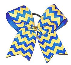 Sports Hair Bow Accessory Royal Blue Glitter Gold Chevron 5.5 Inch Pony Tail Holder *** This is an Amazon Affiliate link. Check out the image by visiting the link.