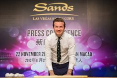 Global icon David Beckham down his handprints for posterity during press conference at the Venetian Macao