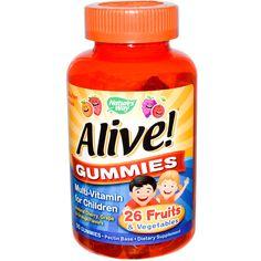 Nature's Way, Alive! Gummies, Multi-Vitamin for Children, Natural Cherry, Grape