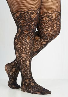 Intricately Exquisite Tights in Plus Size - Black, Sheer, Knit, Lace, Party, Cocktail, Girls Night Out, Holiday Party, Halloween, Valentine's, Best Seller, Boudoir, Best Seller