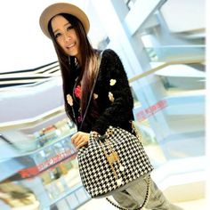 Houndstooth Satchel Handbag   #size #Upscale #trendy #stiletto #fashion #Us #sweet #savage #fierce #high